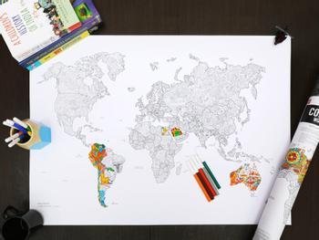Maailmankartta Väritysjuliste Kynillä